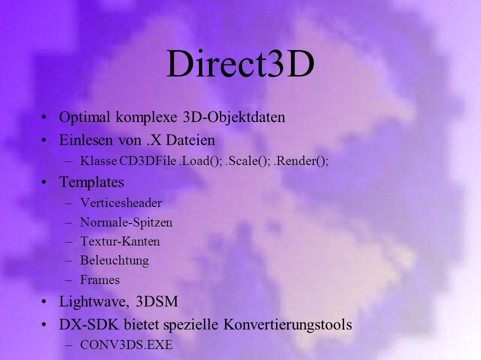Direct3D Optimal komplexe 3D-Objektdaten Einlesen von .X Dateien