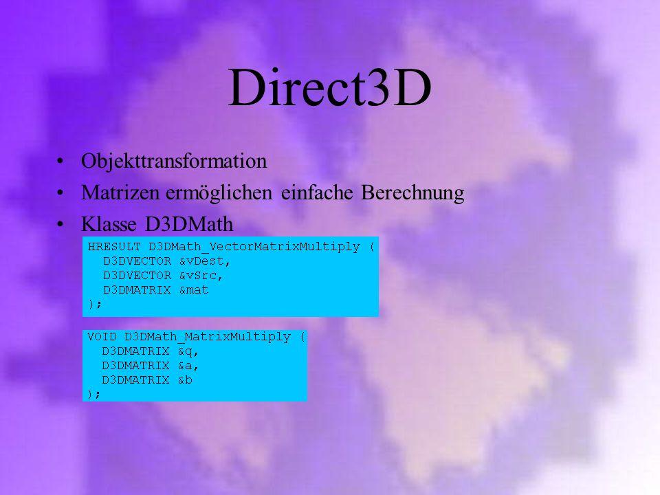 Direct3D Objekttransformation Matrizen ermöglichen einfache Berechnung