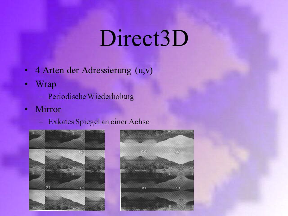 Direct3D 4 Arten der Adressierung (u,v) Wrap Mirror