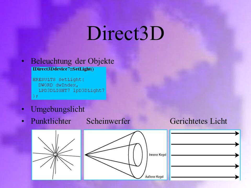 Direct3D Beleuchtung der Objekte Umgebungslicht