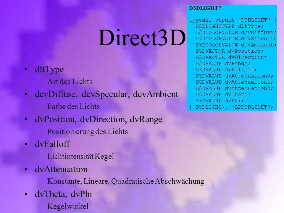 Direct3D dltType dcvDiffuse, dcvSpecular, dcvAmbient
