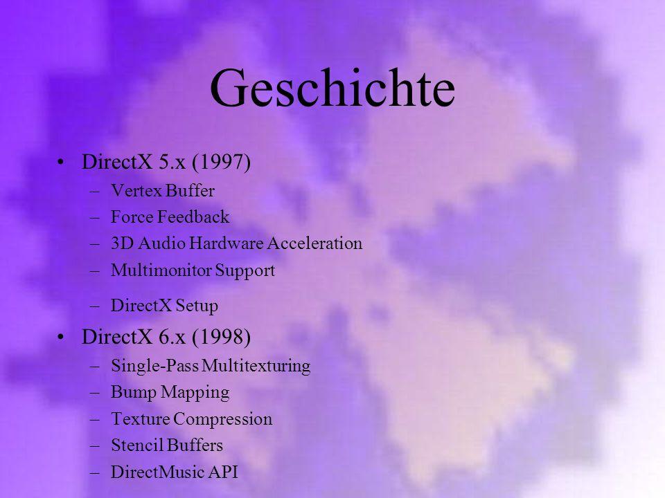 Geschichte DirectX 5.x (1997) DirectX 6.x (1998) Vertex Buffer