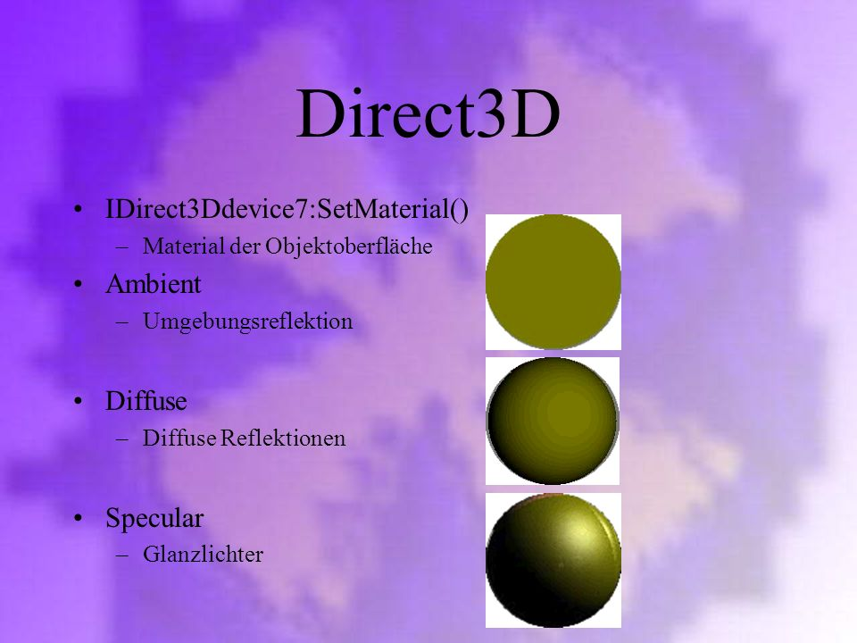 Direct3D IDirect3Ddevice7:SetMaterial() Ambient Diffuse Specular