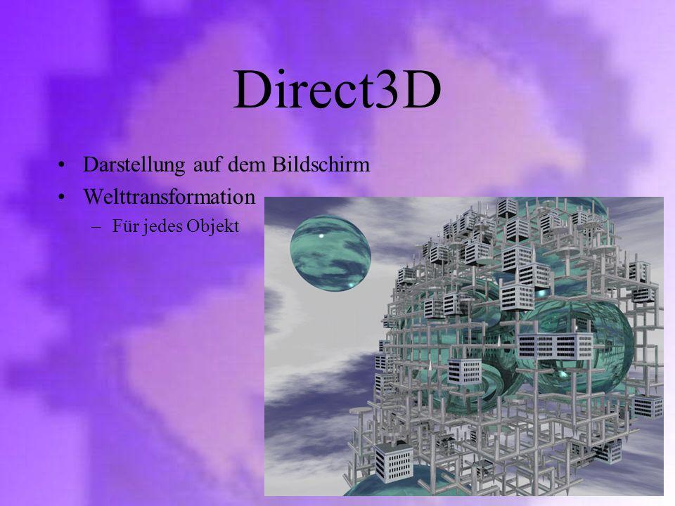 Direct3D Darstellung auf dem Bildschirm Welttransformation