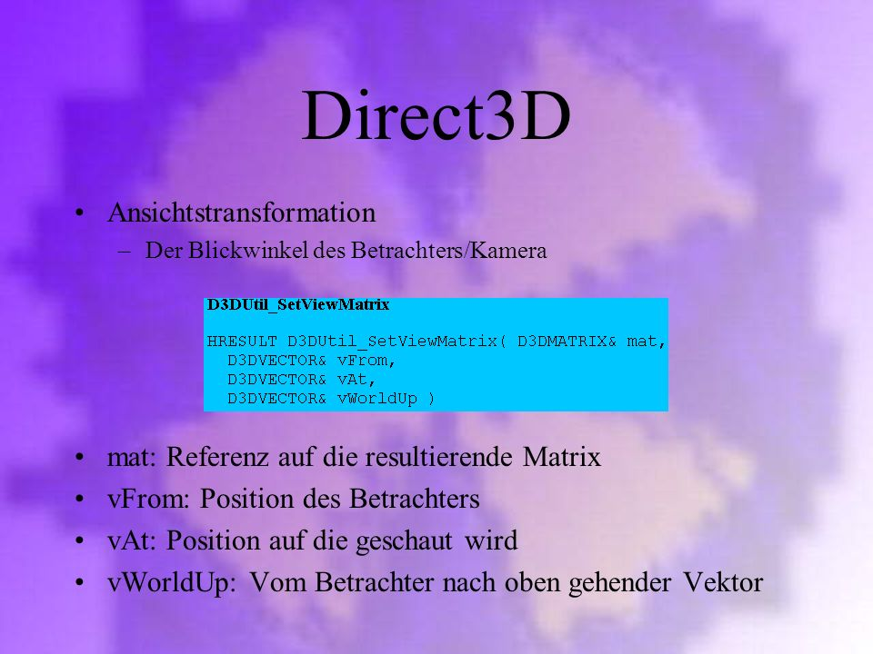 Direct3D Ansichtstransformation