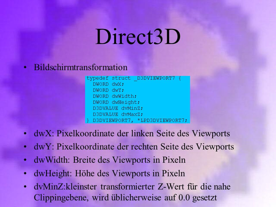 Direct3D Bildschirmtransformation