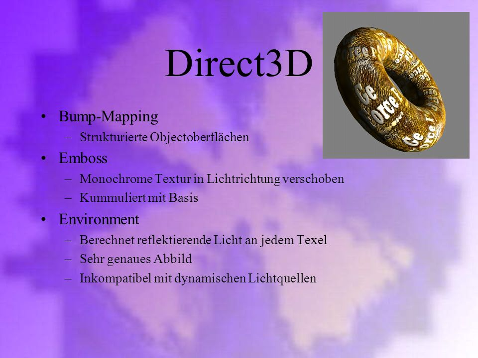 Direct3D Bump-Mapping Emboss Environment