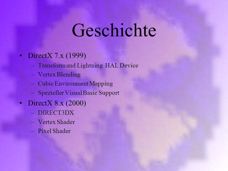 Geschichte DirectX 7.x (1999) DirectX 8.x (2000)