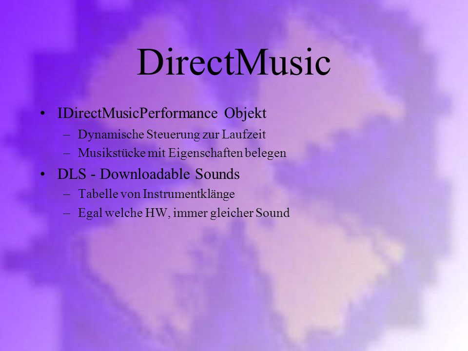 DirectMusic IDirectMusicPerformance Objekt DLS - Downloadable Sounds