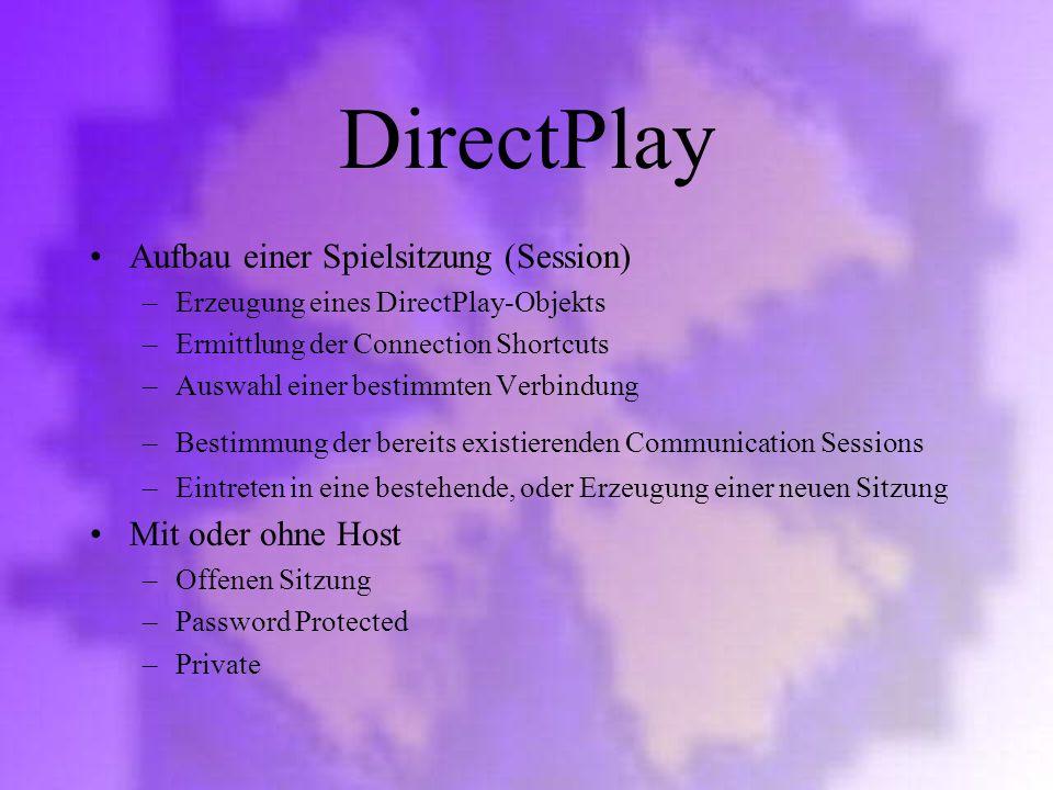 DirectPlay Aufbau einer Spielsitzung (Session) Mit oder ohne Host