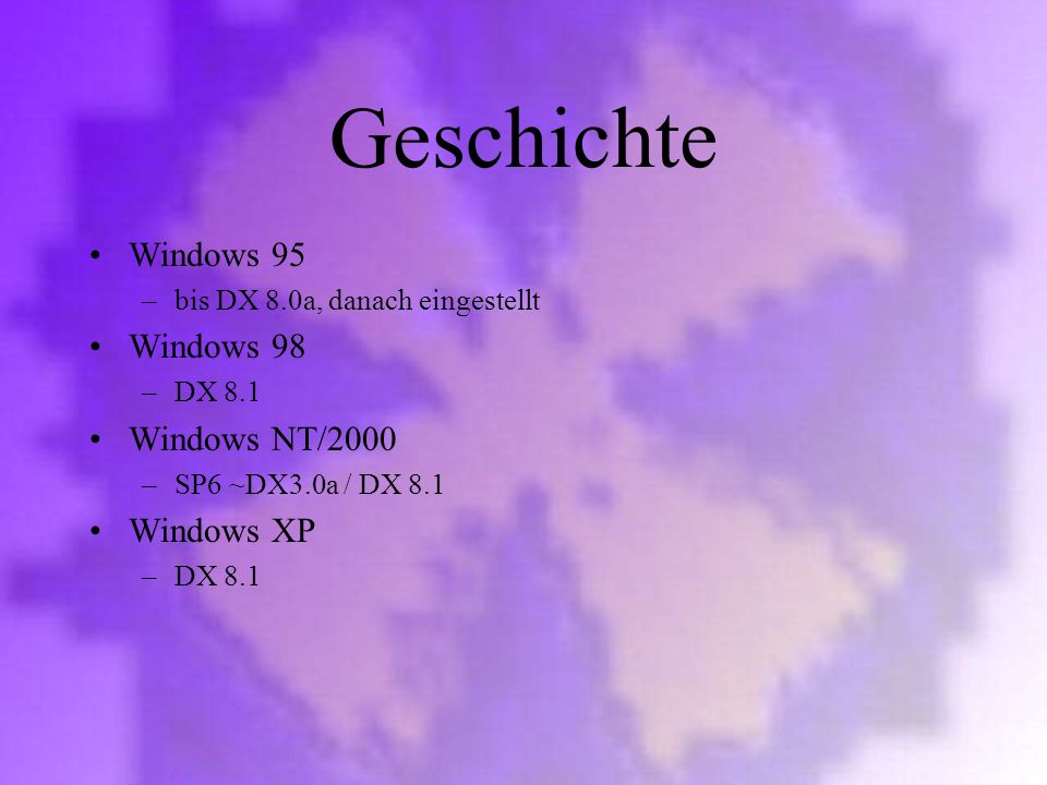 Geschichte Windows 95 Windows 98 Windows NT/2000 Windows XP
