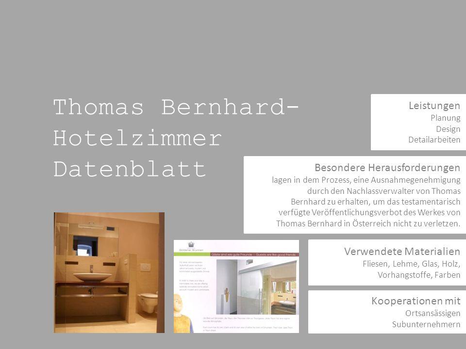 Thomas Bernhard-Hotelzimmer Datenblatt