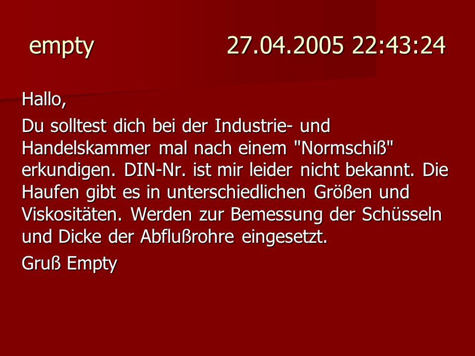 empty 27.04.2005 22:43:24 Hallo,