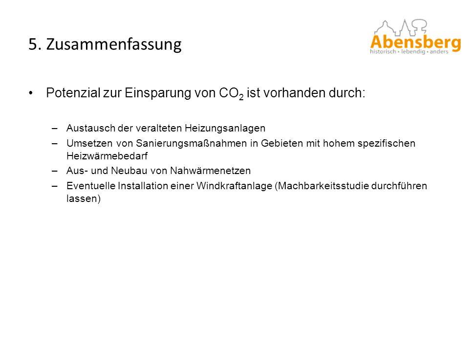 5. Zusammenfassung Potenzial zur Einsparung von CO2 ist vorhanden durch: Austausch der veralteten Heizungsanlagen.