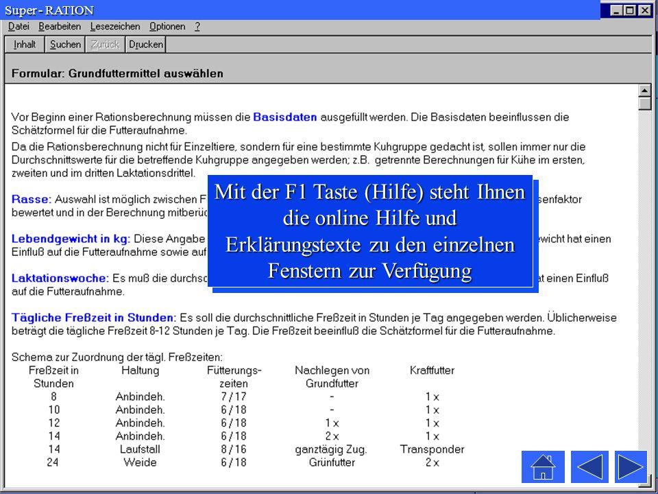 Super - RATION Mit der F1 Taste (Hilfe) steht Ihnen die online Hilfe und Erklärungstexte zu den einzelnen Fenstern zur Verfügung.