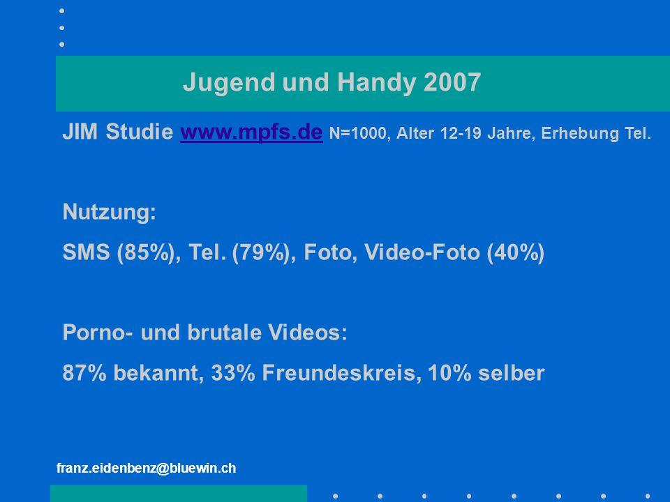 Jugend und Handy 2007 JIM Studie www.mpfs.de N=1000, Alter 12-19 Jahre, Erhebung Tel. Nutzung: SMS (85%), Tel. (79%), Foto, Video-Foto (40%)