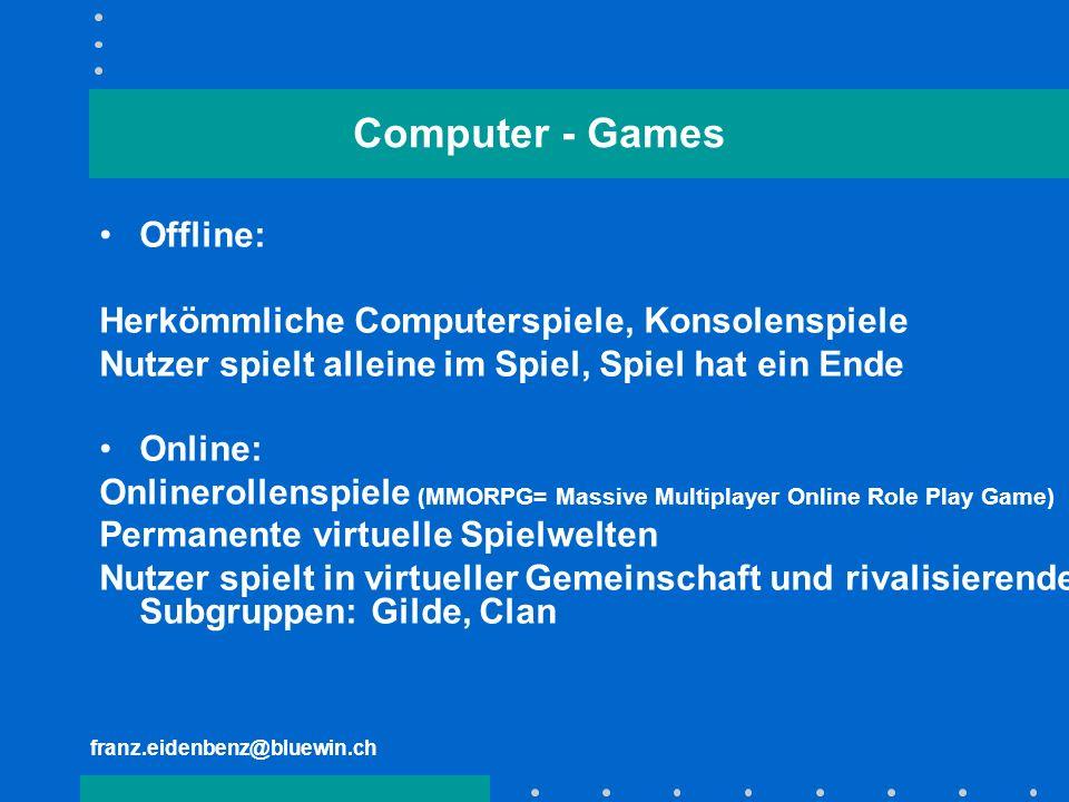 Computer - Games Offline: Herkömmliche Computerspiele, Konsolenspiele
