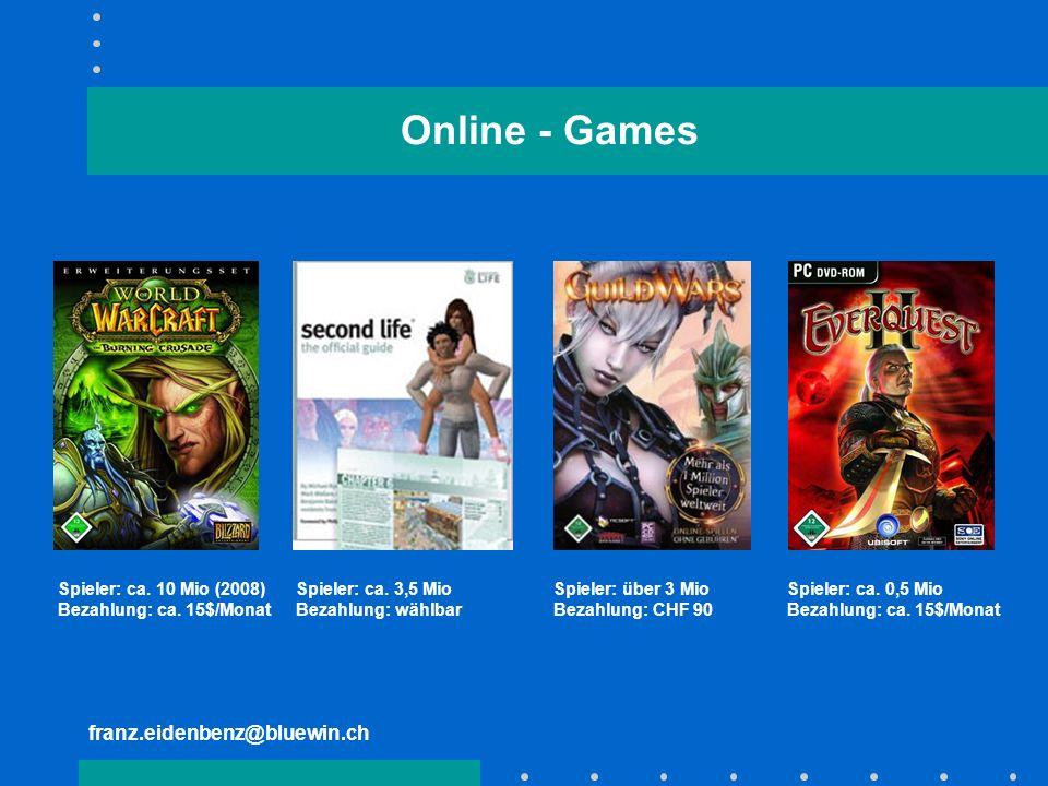 Online - Games franz.eidenbenz@bluewin.ch Spieler: ca. 10 Mio (2008)