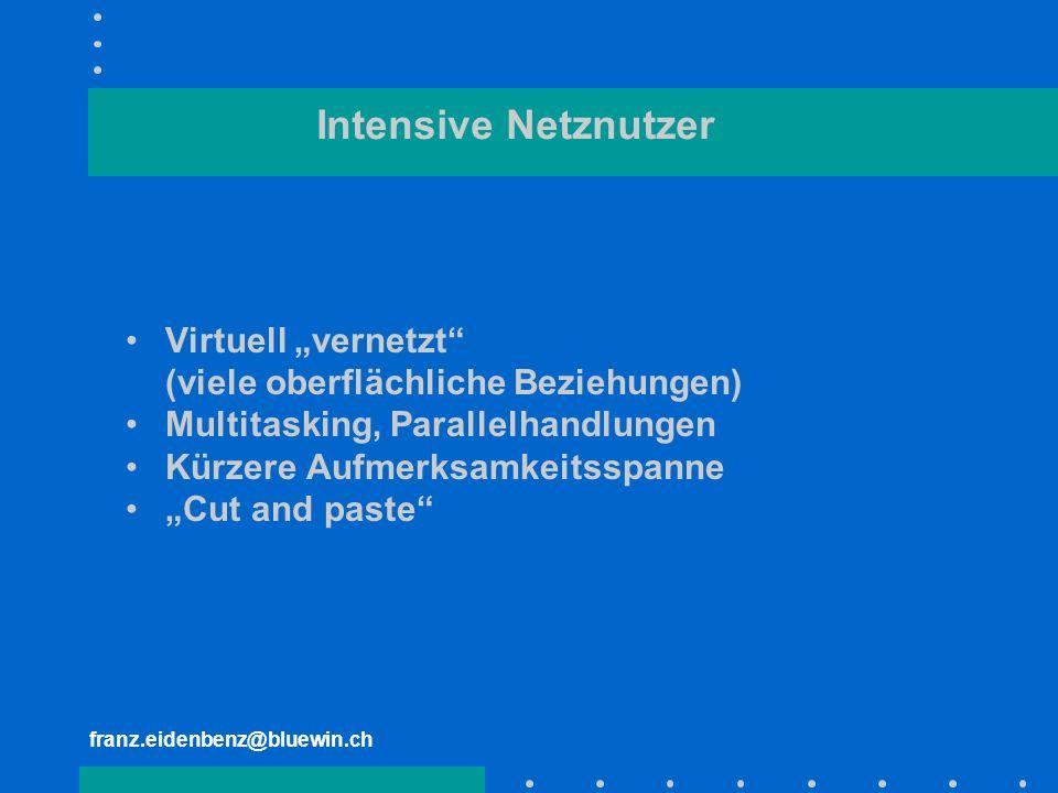 "Intensive Netznutzer Virtuell ""vernetzt"