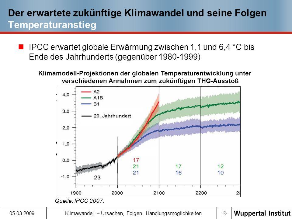 Der erwartete zukünftige Klimawandel und seine Folgen Temperaturanstieg