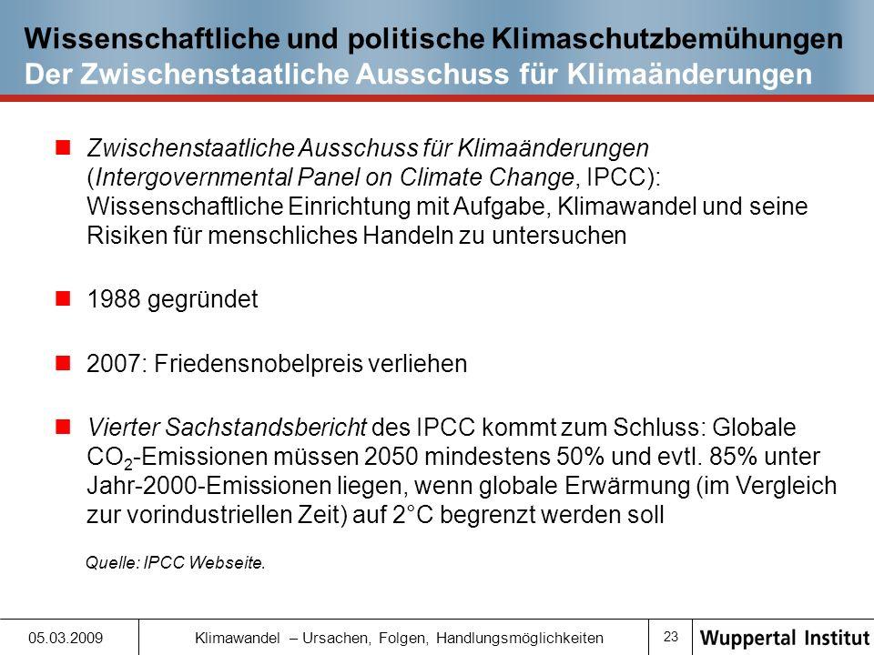 Wissenschaftliche und politische Klimaschutzbemühungen Der Zwischenstaatliche Ausschuss für Klimaänderungen