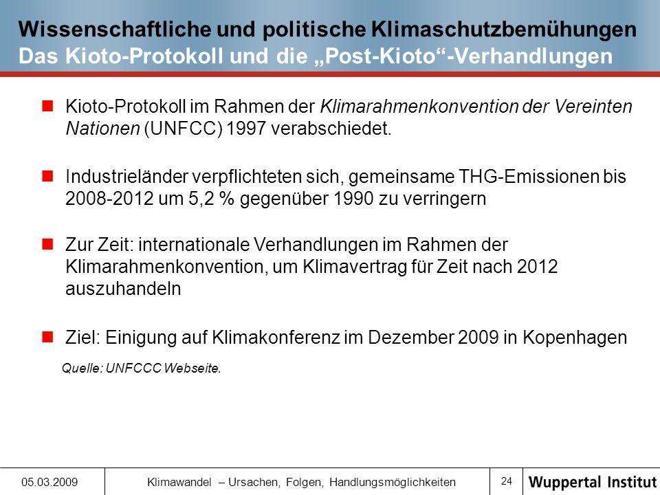 """Wissenschaftliche und politische Klimaschutzbemühungen Das Kioto-Protokoll und die """"Post-Kioto -Verhandlungen"""