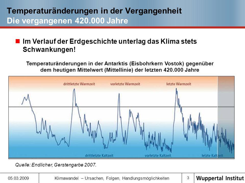 Temperaturänderungen in der Vergangenheit Die vergangenen 420