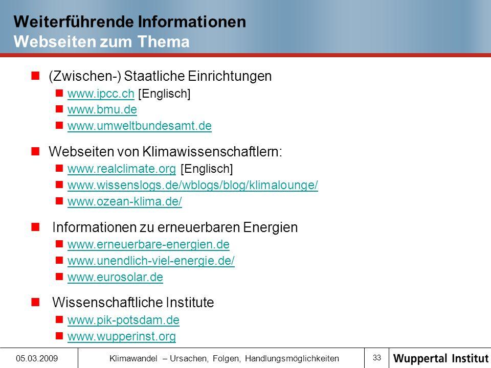 Weiterführende Informationen Webseiten zum Thema