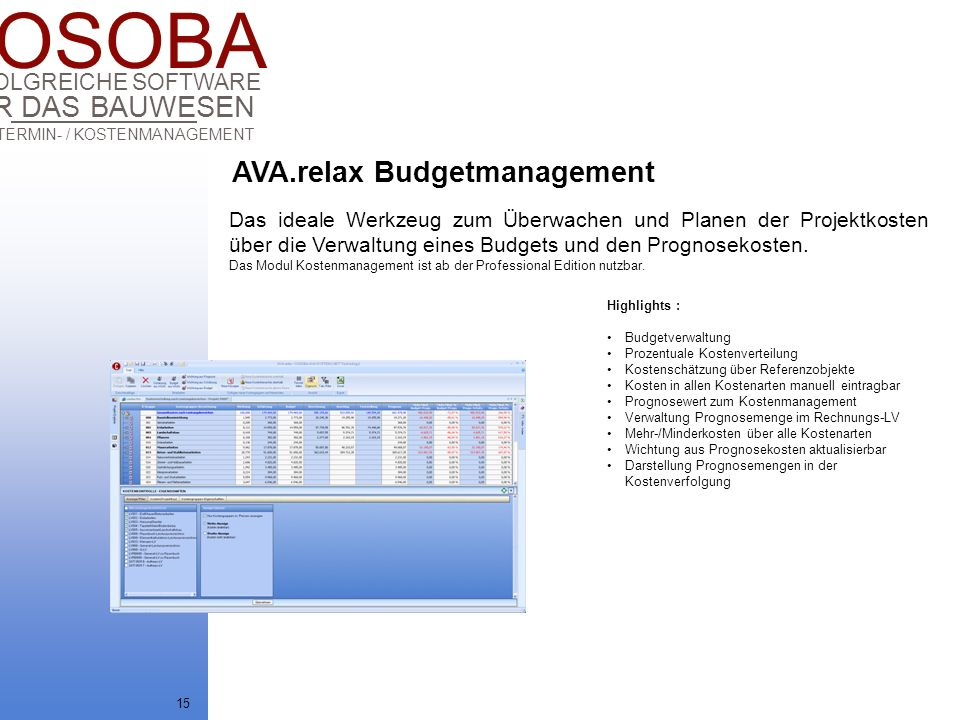 AVA.relax Budgetmanagement