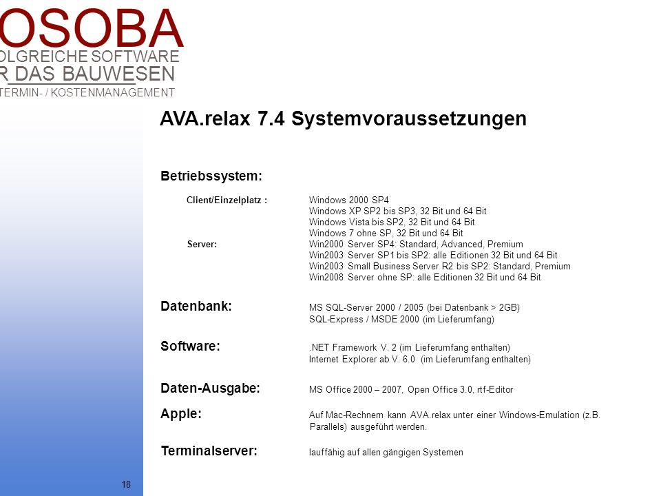 AVA.relax 7.4 Systemvoraussetzungen
