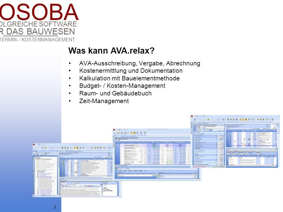 Was kann AVA.relax AVA-Ausschreibung, Vergabe, Abrechnung
