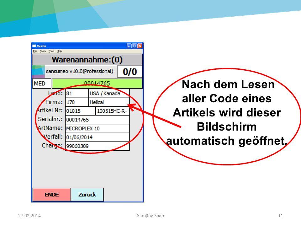 Nach dem Lesen aller Code eines Artikels wird dieser Bildschirm automatisch geöffnet.