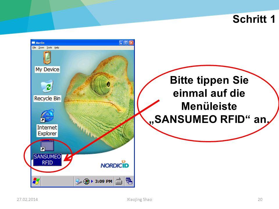 """einmal auf die Menüleiste """"SANSUMEO RFID an."""