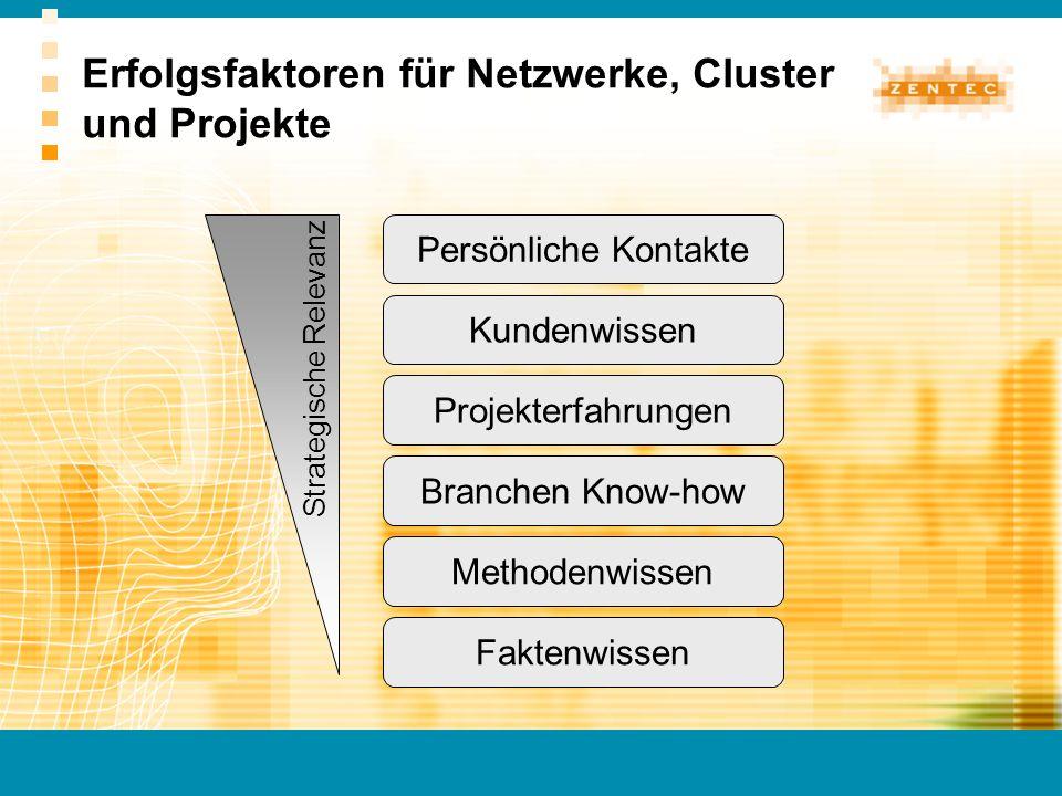 Erfolgsfaktoren für Netzwerke, Cluster und Projekte