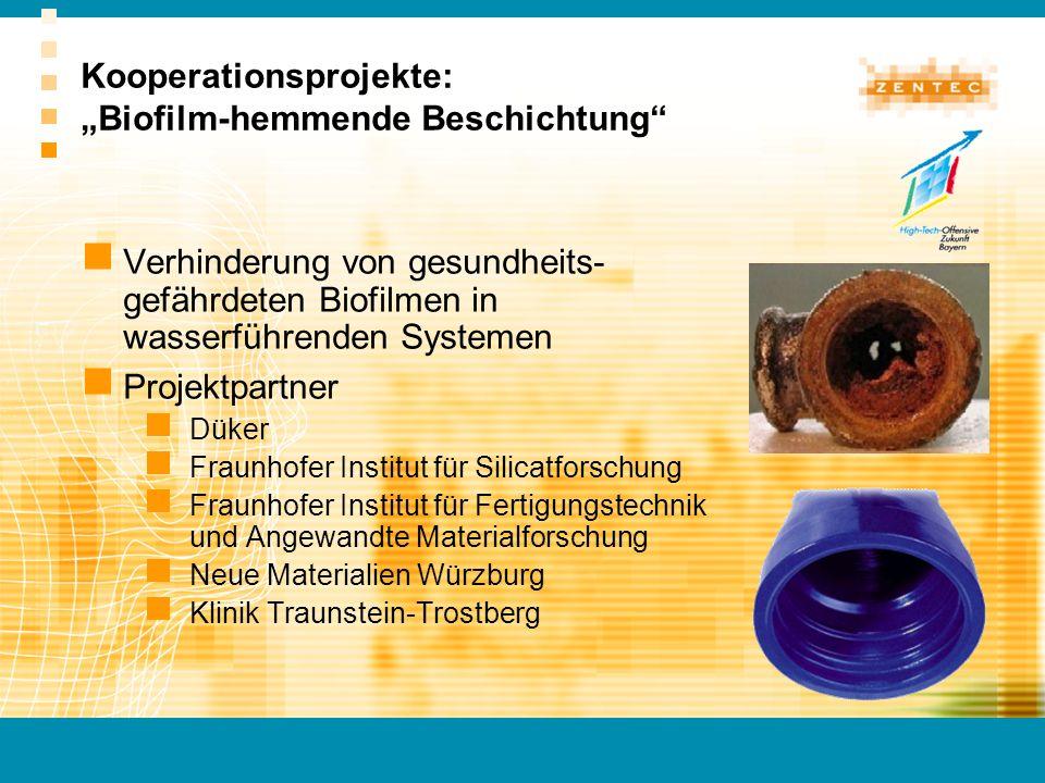 """Kooperationsprojekte: """"Biofilm-hemmende Beschichtung"""
