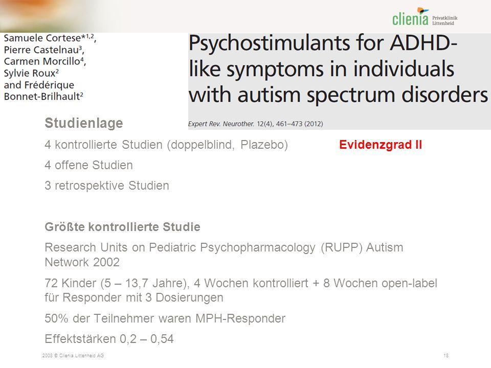 Studienlage 4 kontrollierte Studien (doppelblind, Plazebo) Evidenzgrad II. 4 offene Studien. 3 retrospektive Studien.