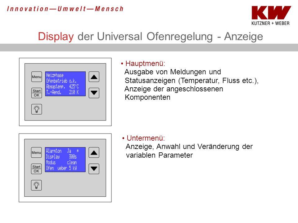 Display der Universal Ofenregelung - Anzeige