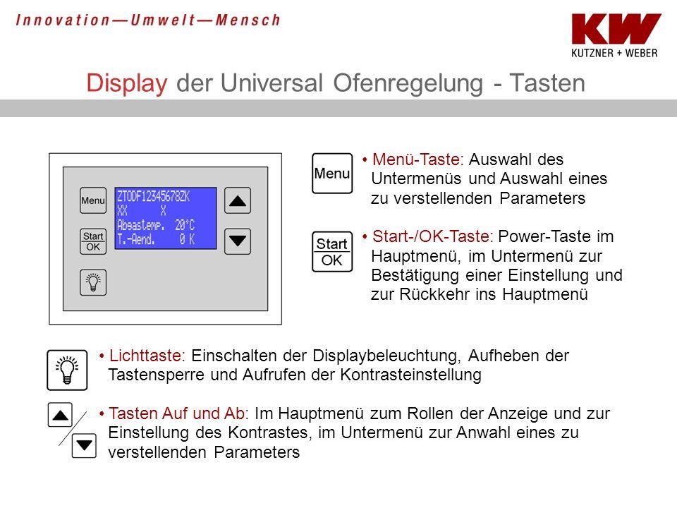 Display der Universal Ofenregelung - Tasten