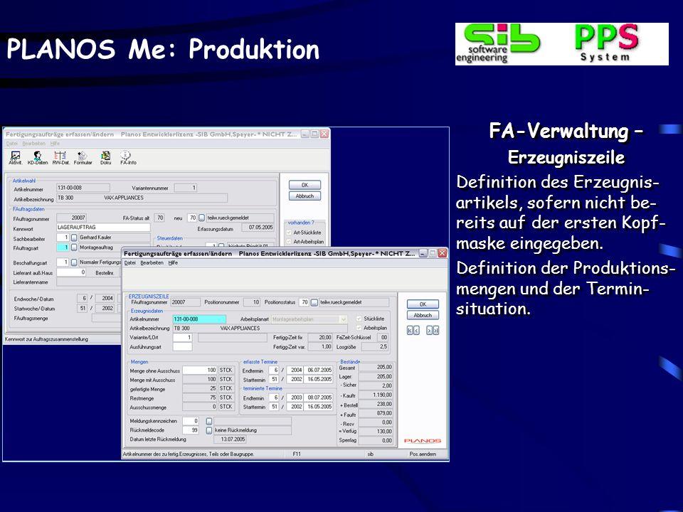 FA-Verwaltung – Erzeugniszeile