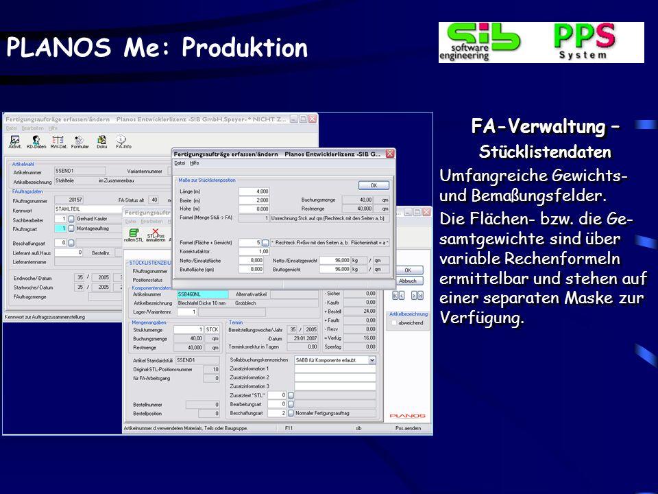 FA-Verwaltung – Stücklistendaten