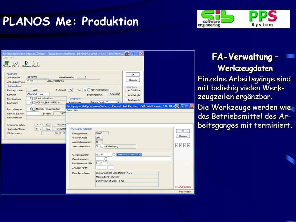FA-Verwaltung – Werkzeugdaten
