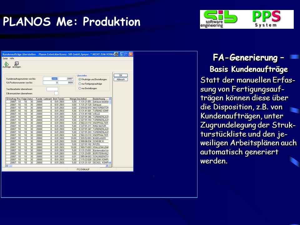FA-Generierung – Basis Kundenaufträge