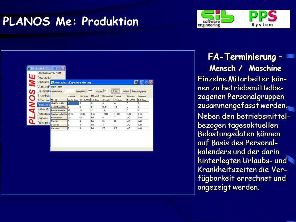 FA-Terminierung – Mensch / Maschine