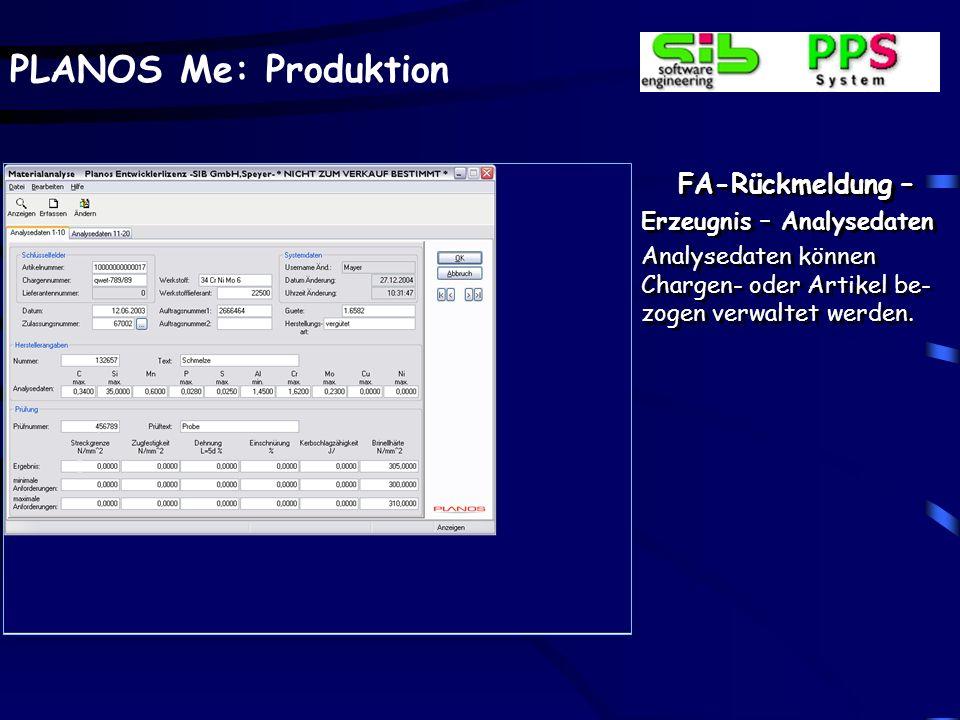 FA-Rückmeldung – Erzeugnis – Analysedaten