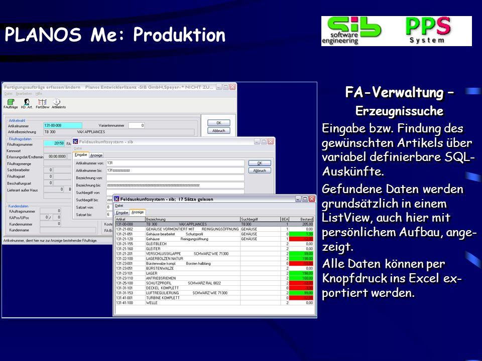 FA-Verwaltung – Erzeugnissuche
