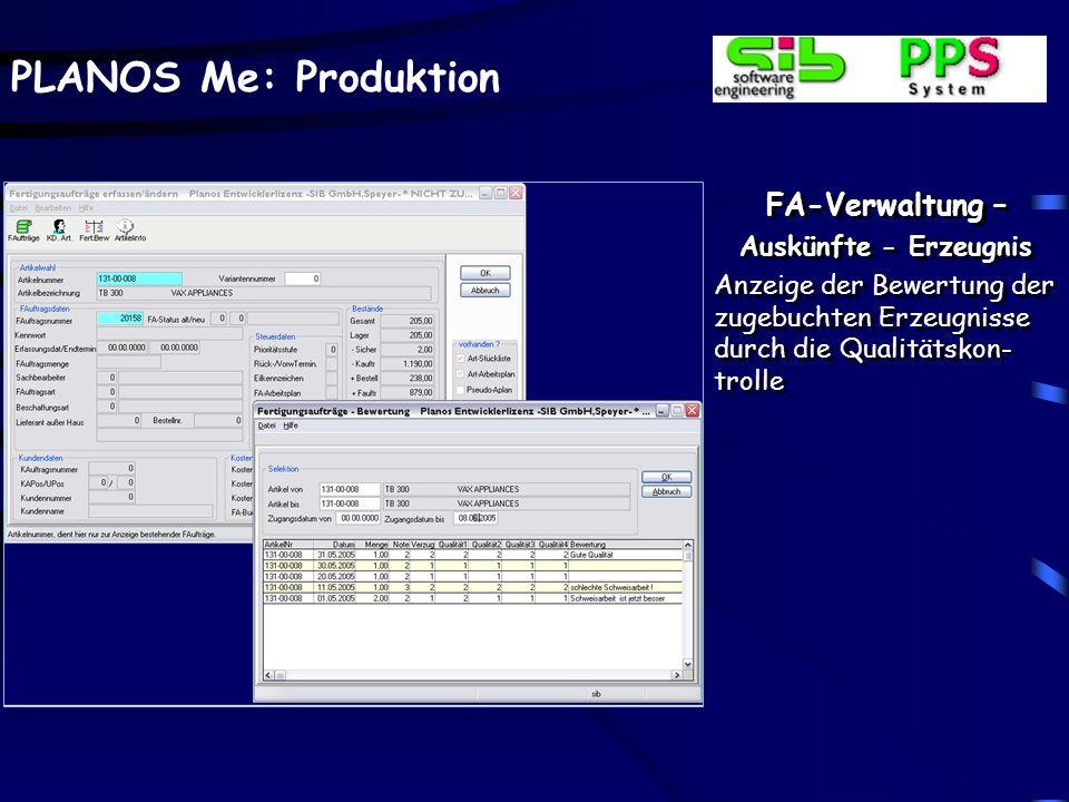 FA-Verwaltung – Auskünfte - Erzeugnis