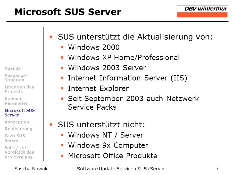 Software Update Service (SUS) Server