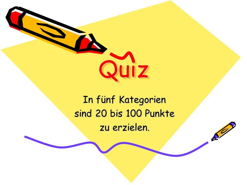In fünf Kategorien sind 20 bis 100 Punkte zu erzielen.