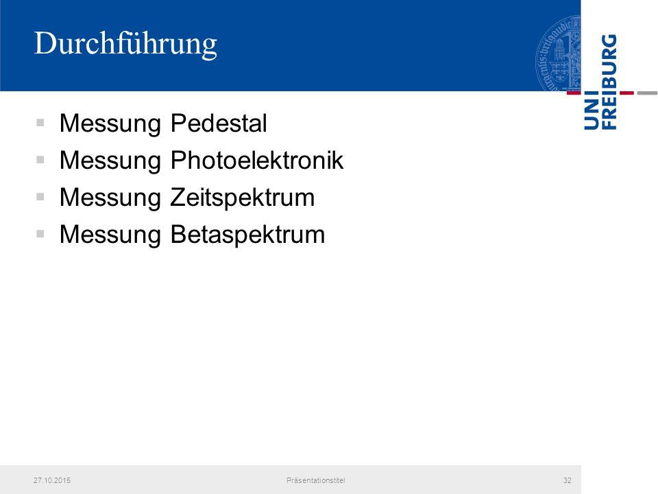 Durchführung Messung Pedestal Messung Photoelektronik