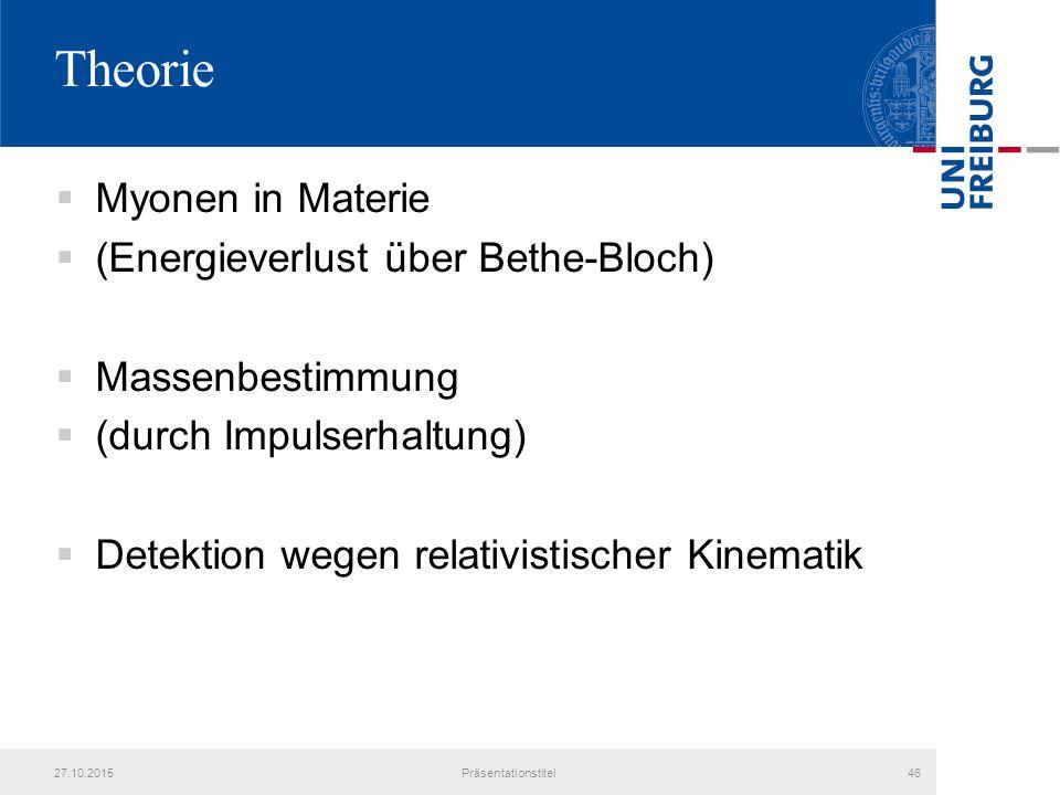 Theorie Myonen in Materie (Energieverlust über Bethe-Bloch)